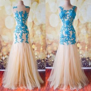 Juna Gown in teal/ nude size L or XL